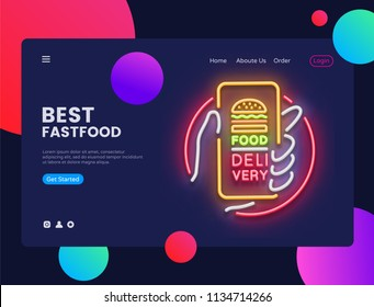 Delivery Food Neon Horizontal Web Banner Vector. Fast Food Advertising banner web interface in modern trend design, neon style, bright night advertising, design template. Vector illustration