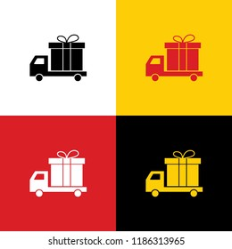 Delivery gift sign. Vector. Icons of german flag on corresponding colors as background.
