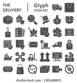 Delivery glyph icon set, shipping symbols collection, vector sketches, logo illustrations, logistics signs solid pictograms package isolated on white background, eps 10