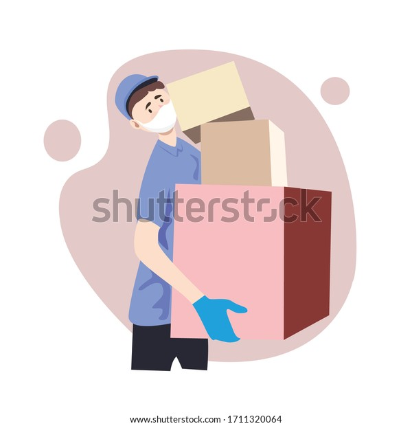 Delivery of goods during the prevention of coronovirus, Covid-19. Courier in a face mask with a box in his hands. Portrait from the waist up. Vector flat illustration
