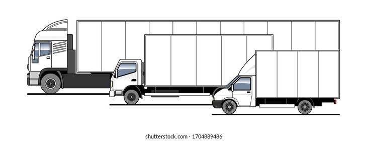 Delivery of goods and parcels by different trucks, lorry. Vector set. Trucks in the parking lot side view. White blank truck template for advertising.