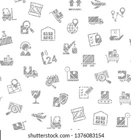 Delivery of goods, seamless pattern, single color, shading pencil, icons, white, vector. Cargo transportation and delivery of goods. Gray icons on white background. Imitation of pencil hatching.