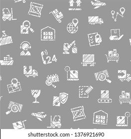 Delivery of goods, seamless pattern, single color, shading, pencil, icons, gray, vector. Cargo transportation and delivery of goods. White icons on grey background. Imitation of pencil hatching.