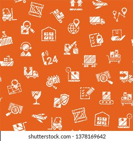 Delivery of goods, seamless pattern, single color, shading, pencil, badges, brown, vector.  White icons on orange-brown background. Imitation of pencil hatching. Vector flat seamless pattern.