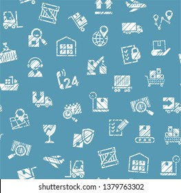 Delivery of goods, seamless pattern, single color, shading, pencil, badges, blue, vector. White icons on blue background. Imitation of pencil hatching. Vector flat seamless pattern.