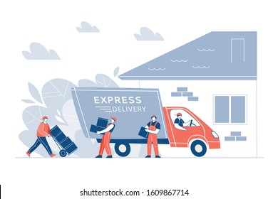 Delivery of goods in the truck at home. The concept of fast shipping. Loaders, characters unload the van, carry boxes. Vector illustration.