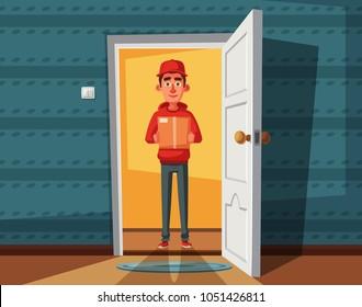 Delivery guy handing a box on doorway. Cartoon vector illustration