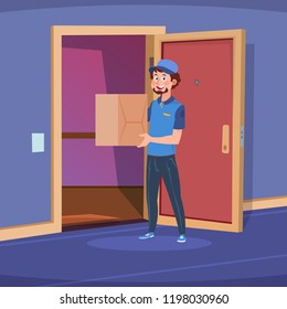 Delivery guy in home door. Boy deliver handing box in apartment doorway. Cartoon delivery of goods at home vector concept. Illustration of delivery man, deliver box pizza
