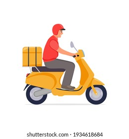 Delivery, the guy on the moped is carrying parcel . Flat cartoon design. vector illustration.