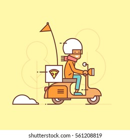 Delivery guy on scooter (illustration)
