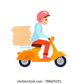 Delivery, the guy on the scooter motobike is carrying pizza. Characters. Flat design Vector illustration