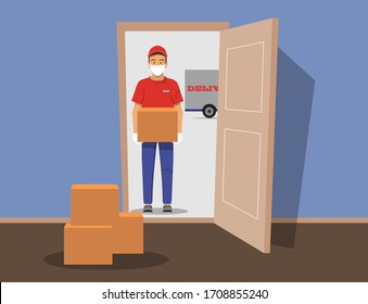 Delivery guy wearing a mask and gloves, handing box on doorway. Vector illustration. Delivery order during quarantine to you door. Open door. Inside of home.