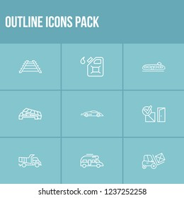 Delivery icon set and campervan with delivery to the door, dump truck and sport car. Railroad related delivery icon vector for web UI logo design.