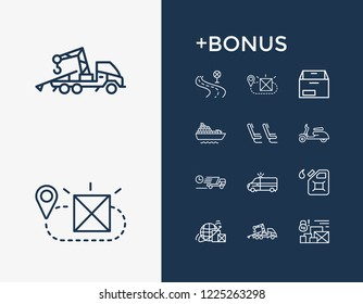 Delivery icon set and cruise ship with scooter, road and world shipping. Fuel container related delivery icon vector for web UI logo design.