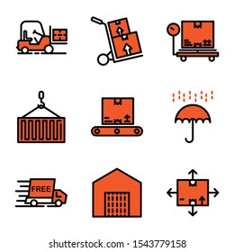 Delivery icon set filed outline style including forklift,logistic,vehicle,cargo,delivery,box,scale,package,crane,container,inventory,umbrella,shield,protection,free,shipping,order,warehouse,direction