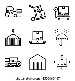 Delivery icon set outline style including forklift,logistic,vehicle,cargo,delivery,box,scale,package,crane,container,inventory,umbrella,shield,protection,free,shipping,order,warehouse,direction