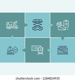 Delivery icon set and train ticket with place order, crate and scissor lift. Distribution related delivery icon vector for web UI logo design.