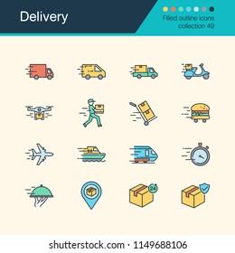 Delivery icons. Filled outline design collection 49. For presentation, graphic design, mobile application, web design, infographics. Vector illustration.