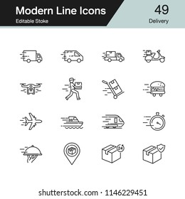 Delivery icons. Modern line design set 49. For presentation, graphic design, mobile application, web design, infographics. Editable Stroke. Vector illustration.