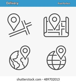 Delivery Icons. Professional, pixel perfect icons optimized for both large and small resolutions. EPS 8 format. 5x size for preview.