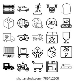 Delivery icons. set of 25 editable outline delivery icons such as truck, take away food, shopping cart, question box, medical drone, cargo box, fragile cargo, handle with care