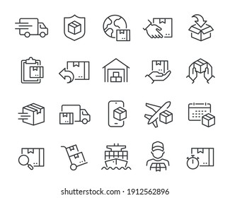 Delivery icons set. Collection of simple linear web icons such as Shipping By Sea Air, Delivery Date, Courier, Warehouse, Return Search Parcel, Fast Shipping and others Editable vector stroke.