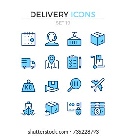 Delivery icons. Vector line icons set. Premium quality. Simple thin line design. Modern outline symbols, pictograms.