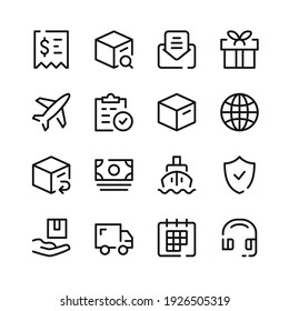Delivery icons. Vector line icons. Simple outline symbols set
