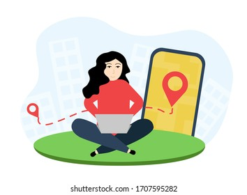 Delivery illustration. A woman sits with a laptop and makes an order. Girl makes an order online. A woman sits with a laptop on the background of a large smartphone with a location icon