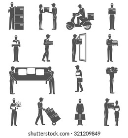 Delivery industry black icons set with male figures isolated vector illustration