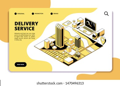 Delivery isometric concept. Logistic and shipping warehouse service with truck, packaging and city map. Phone app vector landing page. Delivery track express, shipping export order illustration