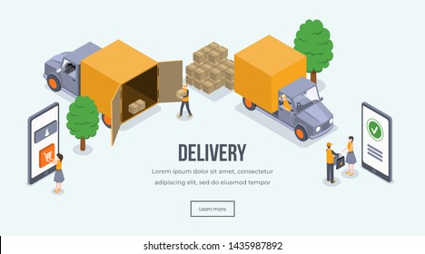 Delivery isometric landing page vector template. E-shopping, order and delivery, truck loading website layout. Shipping vehicle, courier giving parcel to customer 3d concept