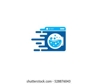 Delivery Laundry Logo Design Template