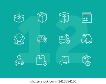 Delivery line icon set. Cargo, box, truck, courier. Delivery service concept. Can be used for topics like shipment, logistics, transportation