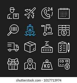 Delivery line icons. Modern graphic elements, simple outline thin line design symbols. Vector icons set