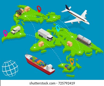 Delivery Logistic Service Business Map World Concept Isometric View Carrying Pack to Customer. Vector illustration of Shipping Transportation Cargo