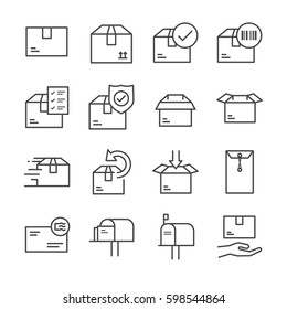 Delivery and logistics line icon set 2. Included the icons as box, product, barcode, mail, receiver, packing and more.
