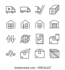 Delivery and logistics line icon set 3. Included the icons as truck, storage, box, warehouse, cross border, global and more.