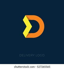 Delivery or logistics logo. Origami D letter. D emblem.