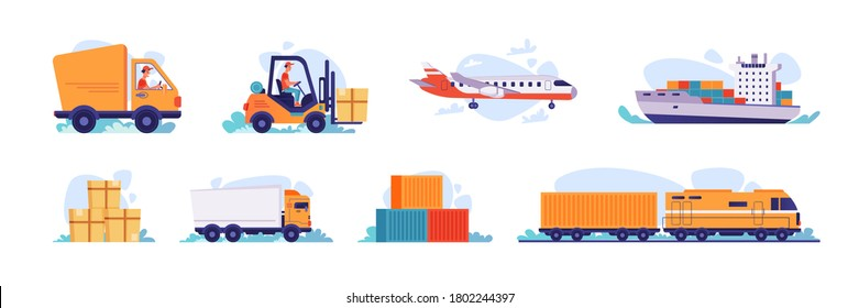 Delivery and logistics transport icons, vector shipping and warehouse flat isolated set. Cargo freight shipment, parcels storehouse logistics and delivery car, airplane, ship and forklift truck loader