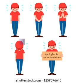 delivery man apologize for the inconvenience. Sorry for mistake.flat vector illustration isolated on white background.
