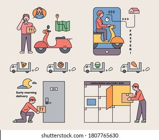A delivery man asking for directions and delivering. For non-face-to-face purposes, there are boxes or lockers in front of the door. flat design style minimal vector illustration.