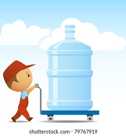 Delivery man with big bottle of water on background. Vector illustration.