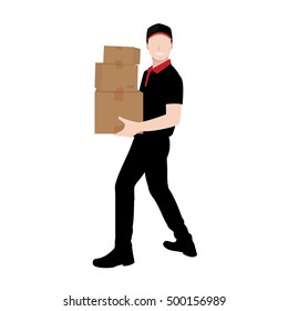 Delivery man in black uniform carrying parcel boxes - courier and delivery service concepts
