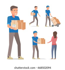Delivery man with boxes in different poses. Vector flat design illustration