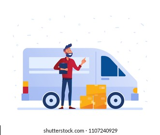 Delivery man with cardboard boxes in front of the van as local delivery service and shipping concept. Door to door car delivery by courier vector illustration on white background.