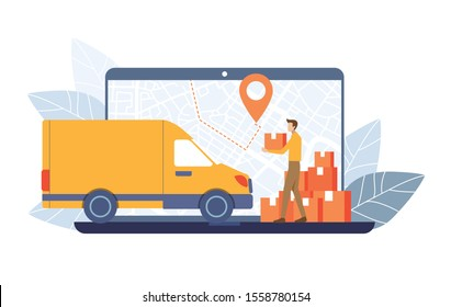 The Delivery man carry parcels to Delivery truck on GPS map laptop screen background. Order Tracking concept. Vector illustration flat design style.