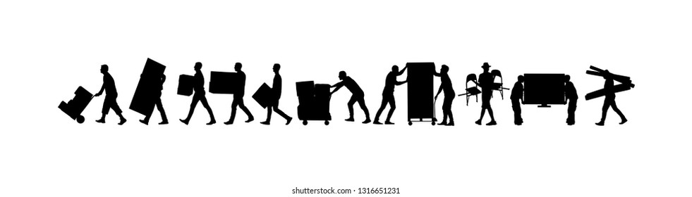 Delivery man carrying boxes of goods vector silhouette. Post man with package. Distribution procurement. Boy holding heavy load for moving service. Handy man in move action. Hand transportation method