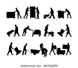 Delivery man carrying boxes of goods vector silhouette. Post man with package. Distribution storehouse. Boy holding heavy load moving service. Handy man move action. Hand transportation method by cart