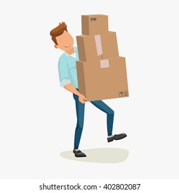 Delivery man. Cartoon character with cartons, box isolated on white background. Concept for online shop or e-shop, Delivery service. Vector flat illustration